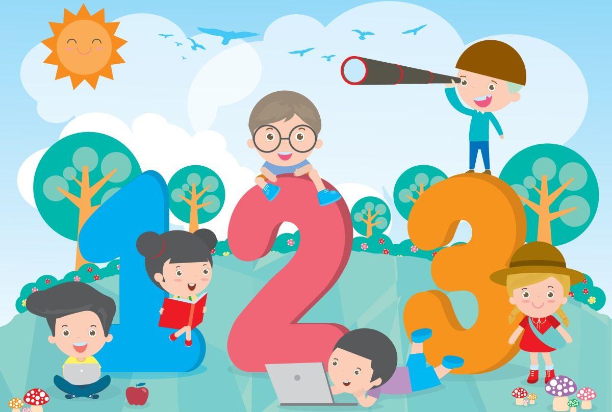 rysunek dzieci bawiące się cyframi
