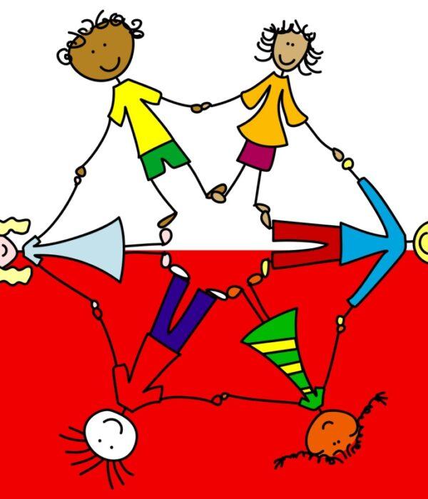 dzieci o różnych kolorach skóry trzymają się za ręce, na tle flagi biało-czerwonej