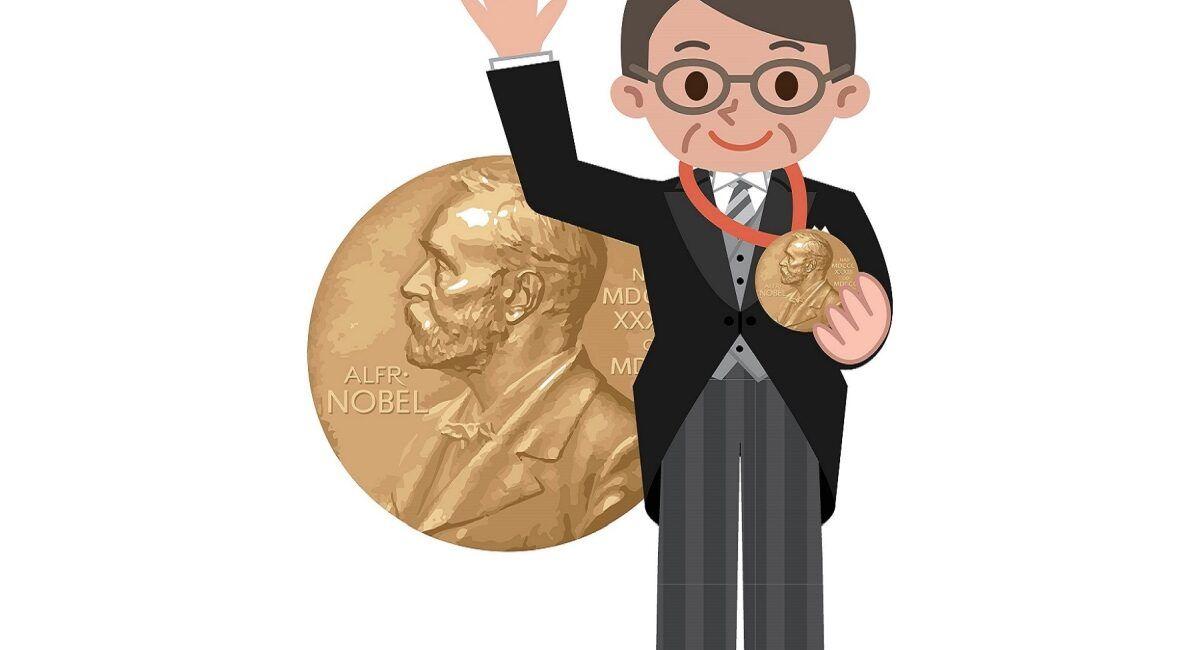 Rysunek laureata Nagrody Nobla trzymającego order