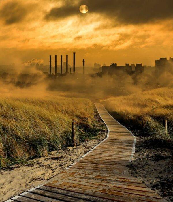 Krajobraz skażony zanieczyszczeniami przemysłowymi