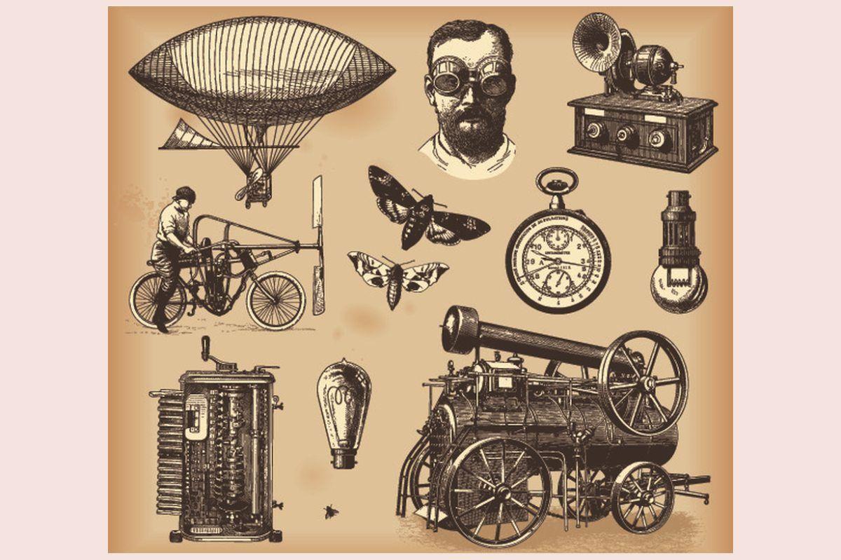 wynalazki: maszyna parowa, zeppelin, busola i inne