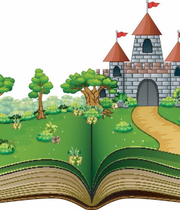 Otwarta księga z zamkiem w pięknym ogrodzie