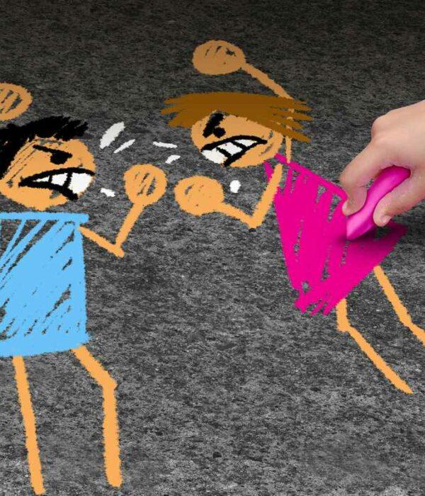 Rysunek przedstawiający złości i kłótnię dwójki dzieci