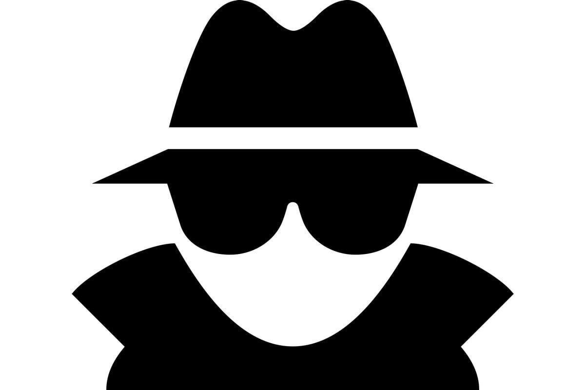 Rysunek mężczyzny w kapeluszu i okularach - incognito