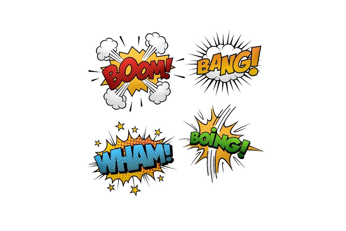 Wyrazy dźwiękonaśladowcze boom, boing, bang w formie komiksowej