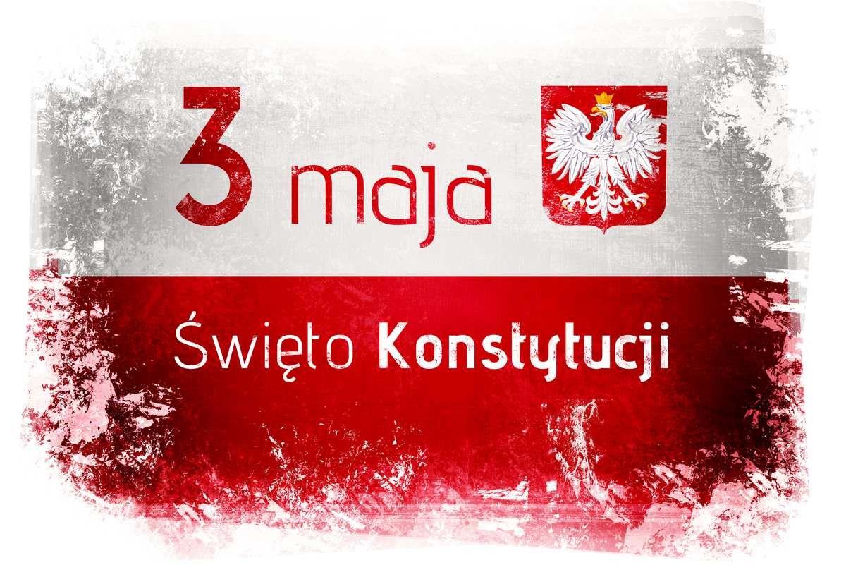 Flaga biało-czerwona z napisem: 3 maja - Święto Konstytucji