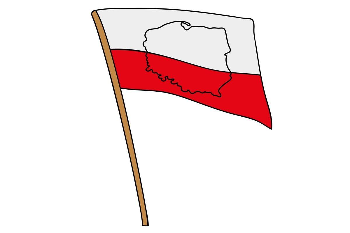 Biało-czerwona flaga z narysowanymi konturami Polski