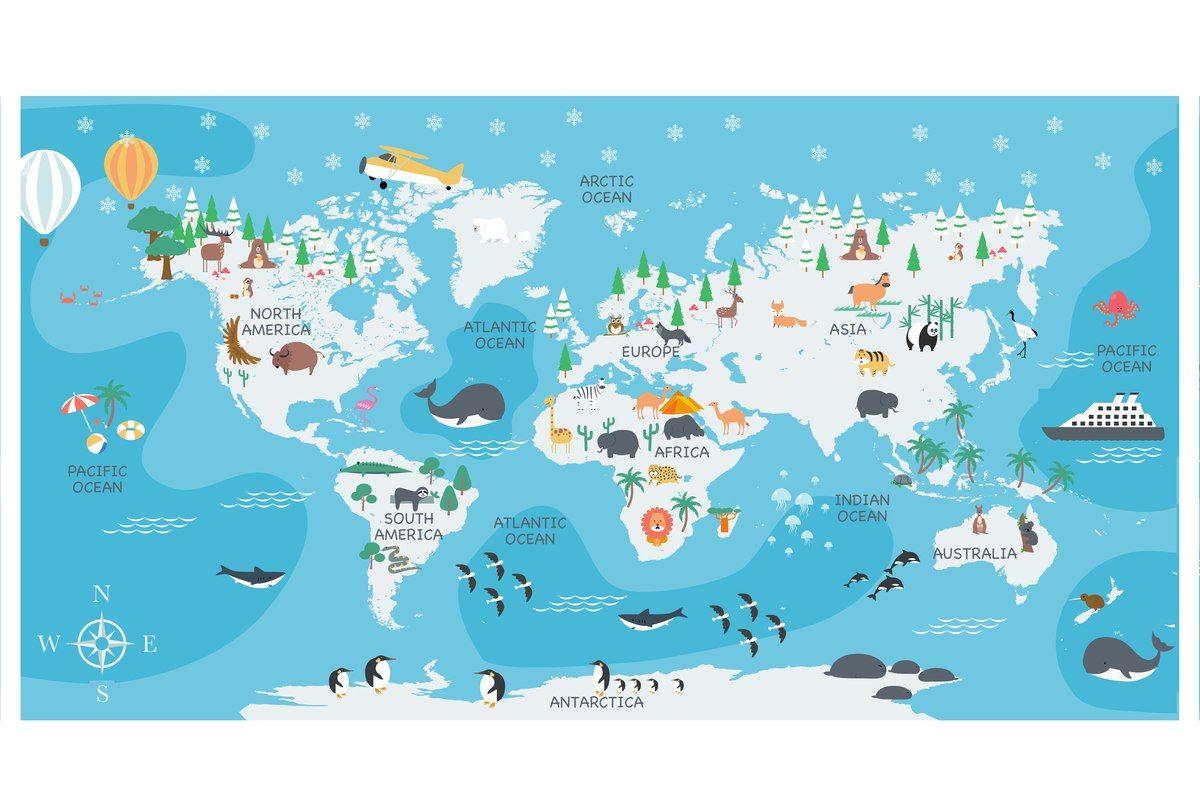 Mapa świata, Ocean Atlantycki,