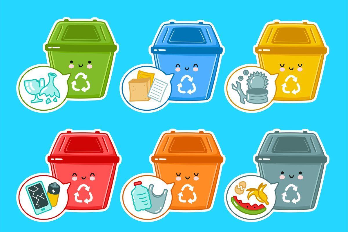 Recycling. Kosze do segregowania śmieci