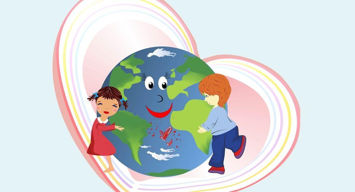 Dzieci przytulające kulę ziemską