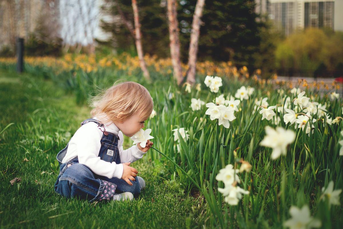 Dziewczynka wąchająca kwiaty