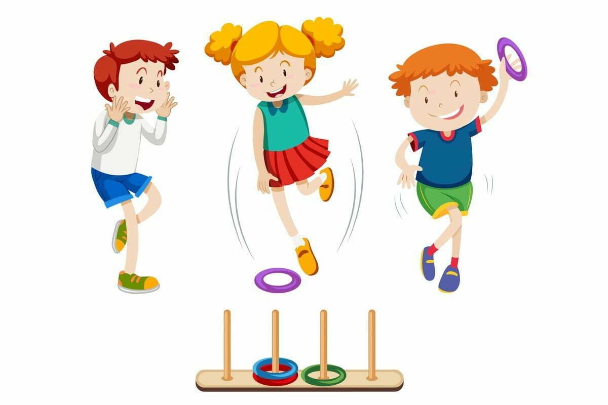 gra dla dzieci - rzucanie kółkiem do celu
