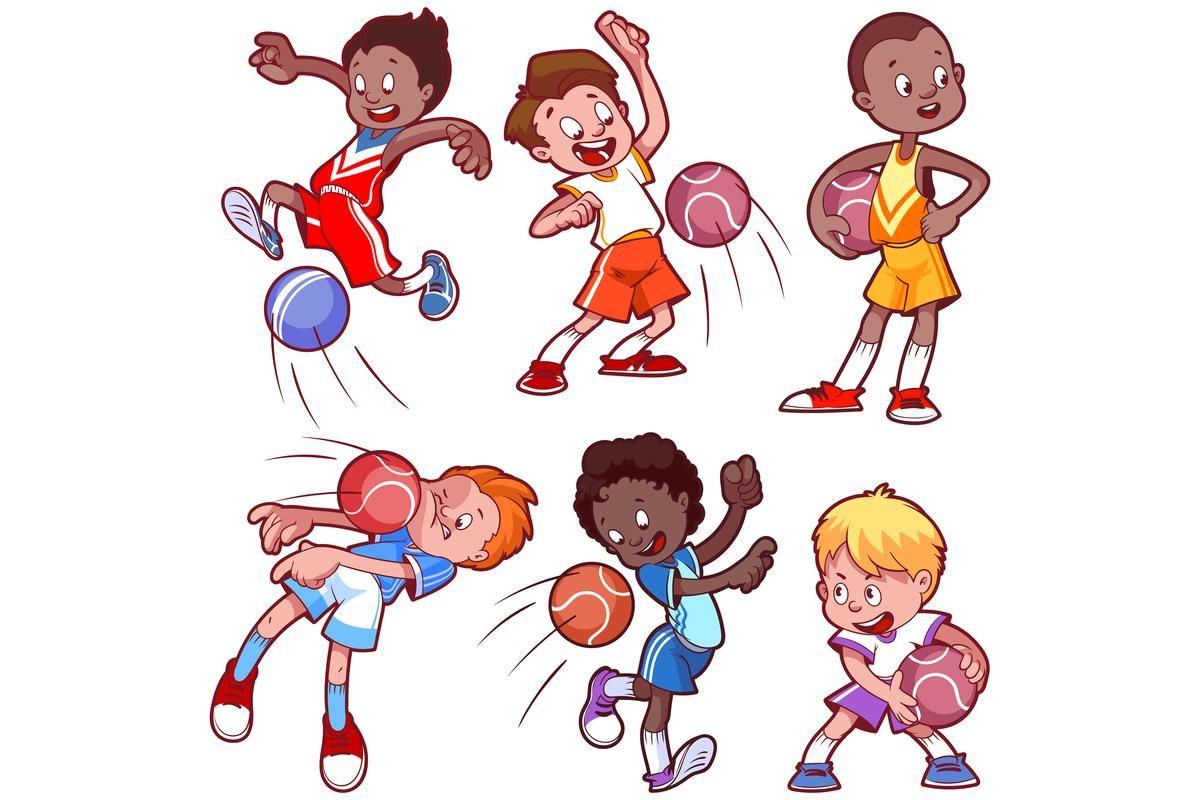 Chłopcy grający w zbijaka (dodgeball)